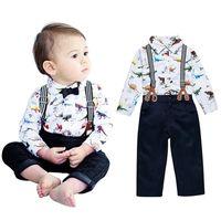Wholesale boys bib pants cotton for sale - Group buy 2017 new children dinosaur outfits Bib pants dinosaur printing shirt set Spring Autumn baby boys suit kids Clothing C1799