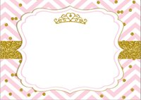 moneda de vinilo al por mayor-7x5FT Pink Chevron Gold Coins Crown Baby Shower Custom Photo Studio Telón de fondo de fondo de vinilo 220 cm x 150 cm