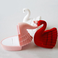 Wholesale Stud Cases - Luxury Swan Velvet Jewelry Boxes Ring Earrings Stud Storage Bins Holder Case Wedding Xmas Gift Packing Box