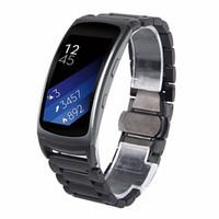 samsung galaxy gang fit großhandel-Black Fit 2 Edelstahluhr Ersatzbänder für Samsung Galaxy Gear Fit 2 SM-R360 Large 6,5-8,1 Zoll (Metall Schwarz)