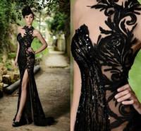 ingrosso i vestiti da sera eleganti neri fendono-Prom Dresses 2019 Elegante Sexy Nero Sheer Jewel Neck Mermaid Abiti Da Sera Alta Fessura Plus Size Custom Made Economici Vestidos De Festa BO7602