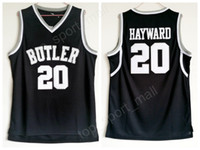freie sport-uniformen großhandel-Hochwertige Gordon Hayward Butler Bulldogs Jerseys 20 Männer Schwarz Farbe Basketball College Gordon Hayward Jersey Sport Uniform Kostenloser Versand