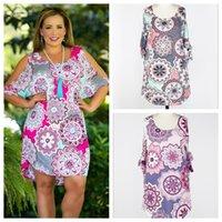 Wholesale asymmetrical dress flared skirt resale online - Floral Bandage Half Sleeve Dress Colors Women Round Neck Loose Skirt Summer Girls Short Party Dress OOA5438