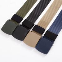 Wholesale wholesale canvas belt strapping - 120cm 3.8cm Automatic Buckle Nylon Belt Male Army Tactical Belt Mens Waist Canvas Belts Cummerbunds High Quality Strap Free shipping