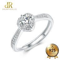 rings for bride Australia - DR Genuine Heart Hollow Shiny Diamond S925 Wedding Ring Adjustable 925 Sterling Silver Rings for Women Fashion Bride Jewelry
