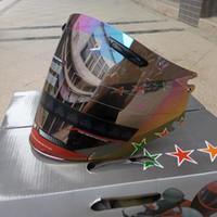 schwarze helme großhandel-Motorradhalbhelm Visier passend für Arai Motorradhelme Objektiv Transparent Schwarz Regenbogen Farbe wählen