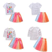 Wholesale pretty clothing resale online - It s my Birthday Children Girls Sets Summer Casual Clothes Short Sleeve Tops T shirt Rainbow Color Skirts Girls Pretty Outfits