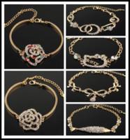 pulseras de oro de 14k con brazalete al por mayor-7 estilo nuevo para mujer 14k Gold Filled cristal austriaco cadena de pescado pulsera brazalete