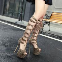 рыбий стиль обуви оптовых-Новый стиль sexy leopard печати 16 см ультра высокий каблук рыбы рот женский сандалии, дырочку женская обувь крепится взять женский сандалии T181