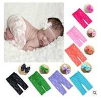 Wholesale Girl Holiday Outfits - Lace Trousers Photography Props Newborn Baby Lace Headbands and Pants Set 0-6 months Infant Costume Outfit With Headband Free Shipping
