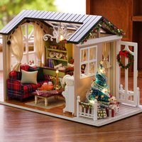 Wholesale craft miniatures wooden house online - Diy Miniature Wooden Doll House Furniture Kits Toys Handmade Craft Miniature Model Kit DollHouse Toys Gift For Children Z009