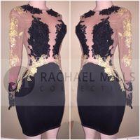 illüzyon gece elbiseleri mini toptan satış-2018 Seksi Siyah Ucuz Kısa Kokteyl Elbiseleri Uzun Illusion Kollu Altın Aplike Mini Kılıf Kısa Balo Parti Abiye Kadınlar Için