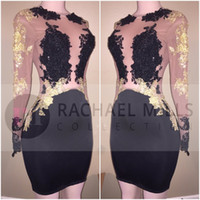 Wholesale long sheer dresses for cheap - 2018 Sexy Black Cheap Short Cocktail Dresses Long Illusion Sleeves Gold Applique Mini Sheath Short Prom Party Evening Dresses For Women