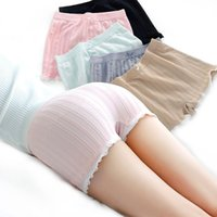 Wholesale Girls Boxers Shorts - Wholesale-Simple Fashion Summer Women Sexy Safety Shorts Lace Anti Exposure Solid Color Ladies Girls Casual Boxer Shorts FS99