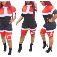 Wholesale women jumpsuit sport - Women Geometric Print Jumpsuit Short Sleeve Tops Love Pink Sports Romper one Piece Pink Letter Sportswear Fitness Yoga Outfits FFA200 6pcs