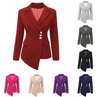 casaco cardigã venda por atacado-9 Cores Femininas Ternos Magros Blazers Senhora Terno de Negócios Formais Casacos de Escritório Cardigan Irregular Tops Casuais Jaqueta de Manga Longa CCA10330 6 pcs