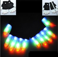 Wholesale led lights for glove for sale - Group buy LED Flash Gloves Mode Light Up Stage Performance Colorful Finger Lighting Glove Glow Party Dance Mittens for adult and kids