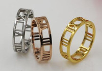 Wholesale gold three finger ring - The new hollow Roman numeral ring The index finger rear titanium steel 18K couple ring