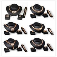 conjunto de la joyería de las mujeres 18k al por mayor-De calidad superior 18K chapado en oro Chunky Cadena Collar Llamativo Pendientes Anillo de la pulsera Set para las mujeres Crystal Wedding Jewelry Sets 6 diseños