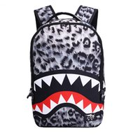 moda okul poşetleri toptan satış-Yeni trendy Leopar kadın bayan sırt çantaları Shark diş okul çantası fermuar cepler ile Polyester tasarımcı sırt çantası