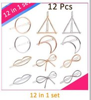 Wholesale Tamax Minimalist Geometric Gold Sliver Hair Clip Triangle Moon Circle Butterfly eight words lips Hairpin Clamps Barrettes Bobby Pin