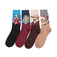 ingrosso moda mens calzini colorati-Calzini variopinti della squadra della calza della serie della pittura del calzino del cotone della serie della pittura del calzino di modo variopinto della calza lunga