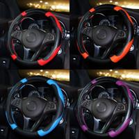 räder sportwagen großhandel-CARSHAPING Sport Style Kontrast-Farben-Anti-Rutsch-Sweat Gut Breathable PU Leatherette 15-Zoll-Auto Lenkradbezug