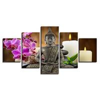 zen gemälde großhandel-Leinwand HD Drucke Bilder Wohnkultur Rahmen 5 Stücke Buddha Zen Gemälde Motte Orchidee Kerze Poster Für Wohnzimmer Wandkunst
