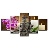 peintures zen achat en gros de-Toile HD Prints Pictures Home Decor Cadre 5 Pièces Bouddha Zen Peintures Moth Orchid Bougie Affiches Pour Salon Mur Art