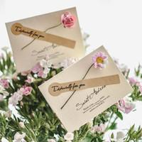 cartes de fleurs fraîches achat en gros de-2018 New Style Fresh Roses Carte De Fleurs Séchées Anniversaire Noël Valentine 's Greening Card So Nice