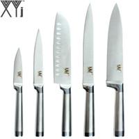 şef pişirme toptan satış-XYj Mutfak Aletleri 5 Adet Mutfak Bıçağı Seti Şef Dilimleme Santoku Programı Soyma Alman Paslanmaz Çelik Pişirme Bıçakla ...