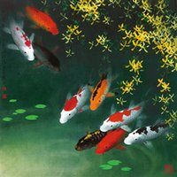 Wholesale Oil Painting Fish - Modern Animals Abstract Home Art wall Decor Feng Shui Koi Fish Giclee Print Oil Painting Canvas wall decor Gift Oil Picture gift Bedroom