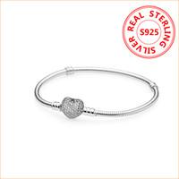european silver bracelet venda por atacado-Authentic 925 Sterling Silver Coração Encantos Pulseira Para Pandora Europeu Beads Bangle Presente de Casamento Jóias para As Mulheres com caixa Original