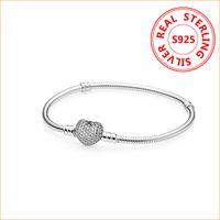 cadeaux européens achat en gros de-Authentique 925 Sterling Silver Heart Charms Bracelet Pour Pandora European Perles Bracelet De Mariage Cadeau Bijoux pour Femmes avec Boîte d'origine