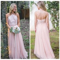 Wholesale long party dresses online - Halter 2018 Lace Top A-Line Long Bridesmaids Dresses Custom Online Cheap Vestidos De Bridesmaids Party Gowns Chiffon Skirt Custom