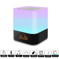 egg speakers 2018 - Bluetooth Speaker LED Night Light Portable Wireless Bluetooth Speaker with Alarm Clock Touch Control Color Night Lamps LED Table Desk Lamp