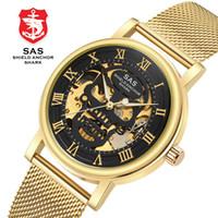 часы наручные оптовых-shark  Skeleton Business Watches For men 3D full automatic steel strip mechanical watch   made of Man watch