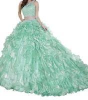 rosa mullido vestidos de talla grande al por mayor-Quinceanera Pink lentejuelas brillantes encaje tres piezas conjunto cadera falda falda cola hilo puede ser eliminado Eugen adultos ceremonia vestido envío barato.
