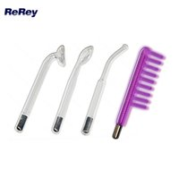 Wholesale electrodes high frequency - 4 pcs Violet Ray High Frequency Skin Care Electrode UV Light Beauty Machine Glass Tube HF Facial Device Replacement Nozzle