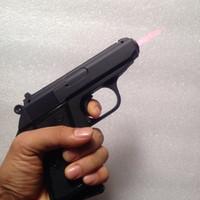 isqueiros de cobre venda por atacado-Arma pistola cal Walther PPK 7.65mm isqueiro tocha à prova de vento à prova de vento gás butano recarregável ligas de metal cigarro isqueiro preto prata cor de cobre