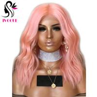 melhores perucas de cabelo humano europeu venda por atacado-10A Melhor Cabelo Humano Europeu Perucas Dianteiras Do Laço Rosa Nua Natural Ondulado Peruca Do Laço com o Cabelo Do Bebê para As Mulheres