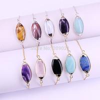 gems animals Australia - 6Pcs Mix Color Assorted Natural Stone Connector Gems Bracelet Fashion Jewelry For Women