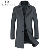мужская одежда оптовых-2018 New Mens  Clothing Autumn Winter Men's Long Slim Cashmere Coat Business Casual Classic Style Blue GARY Jacket Male