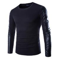 schwarze sweatshirt-lederhülsen großhandel-Herren Leder Sweatshirt schwarz Langarm Pullover PU Patchwork Leder tragen Männer PulloverClothing Fitness Compression Shirt 2XL