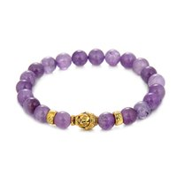 браслеты из австрийских кристаллов оптовых-8 mm Round Austrian Crystal  Lady Bracelets Gold Buddha Natural Amethysts Purple Quartz Stone Jewelry Bracelet For Women R5