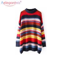 Wholesale rainbow stripe sweater - Aelegantmis Fashion Rainbow Stripe Knitted Sweaters Women Pullovers Chic Loose Oversized Sweater Female Autumn Winter Jumpers