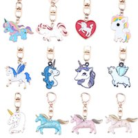 Wholesale Design Keychain Carabiner - Colorful Alloy Cartoon Unicorn Design Key Buckle Cute Style Pegasus Shape Key Ring For Kids Bag Purse Car Keychain Charms 3 2sz Z