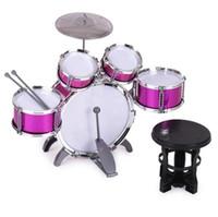 cymbales jouets achat en gros de-Haute Qualité Enfants Enfants Drum Set Instrument de Musique Jouet 5 Tambours Avec Petit Tabouret De Cymbale Bâtons De Tambour Pour Garçons Filles