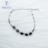 ingrosso bracciale ovale in zaffiro-TBJ, 100% zaffiro naturale ovale 4 * 6mm 2,5, bracciale in argento zaffiro in argento sterling 925 con pietre preziose con scatola regalo