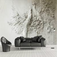 murales de pavo real al por mayor-Pavo real en relieve 3D estéreo Wallpaper for Walls Papel de pared en 3D TV Background Pintura Mural Wallpapers Mejora del hogar